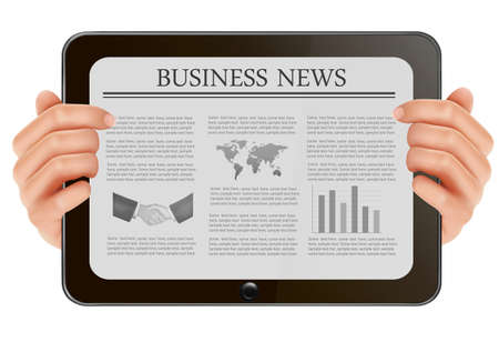 e data: Hand holding digital tablet pc with business news. Vector illustration Illustration