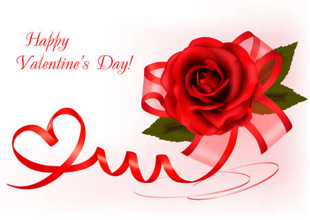 roses and hearts: Valentine`s day background. Red rose with gift red bow. Vector illustration. Illustration