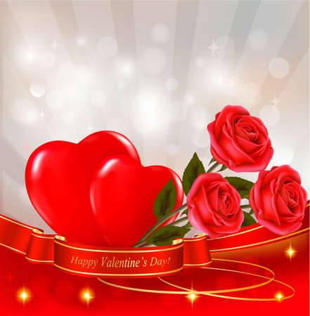 Valentine`s day background. Red roses with red hearts. Vector illustration. Vector