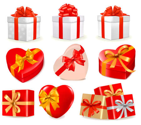 Set of colorful gift boxes with bows and ribbons. Stock Vector - 12011168