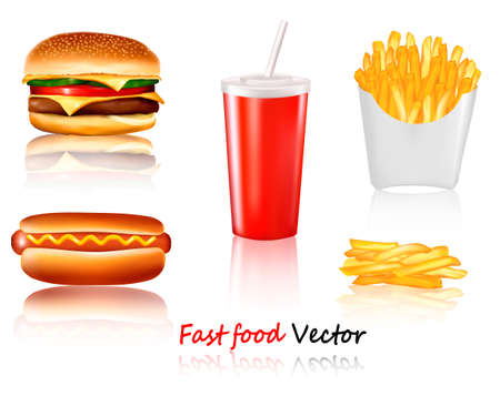 hamburger and fries: Big group of fast food products.
