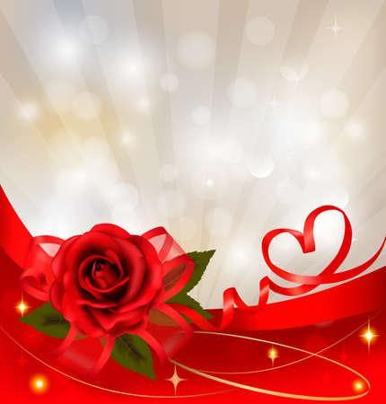 bordures fleurs: Valentine `s day background. Rose rouge avec un cadeau rouge arc. illustration.