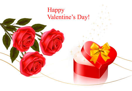 Valentine`s day background. Red roses with gift red bow. illustration. Vector
