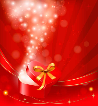Valentine`s day background with open gift box. Stock Vector - 12108985