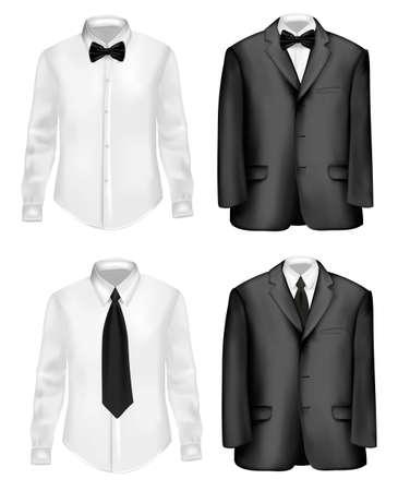 dress coat: Abito nero e camicia bianca con le cravatte. illustrazione