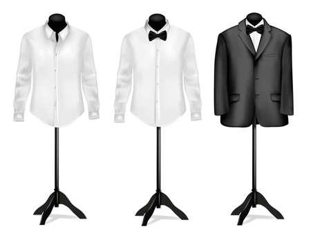 Abito nero e camicia bianca con farfalla su manichini. illustrazione.