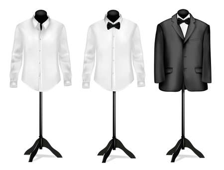 wear: Black suit and white shirt with butterfly on mannequins. illustration. Illustration