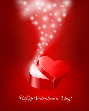 Valentine`s day background with open gift box. Vector