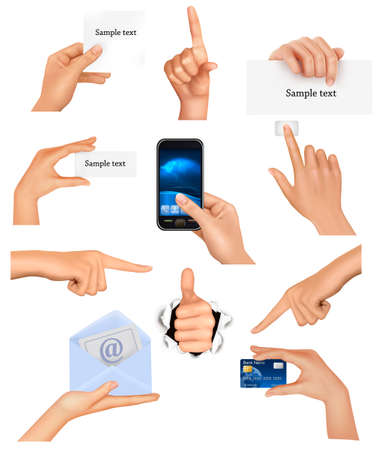 Set of hands holding different business objects. illustration Vector