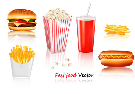 Big group of fast food products. illustration Vector