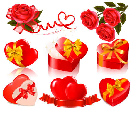 Set of Valentine elements Vector