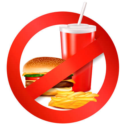 cholesterol: Fast food danger label. illustration. Illustration