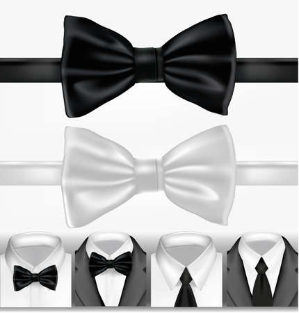coat and tie: Black and white tie. illustration Illustration