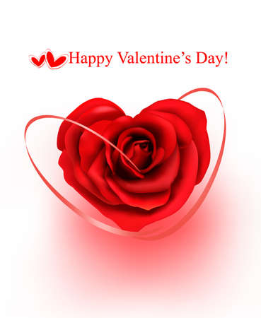 Valentine`s day background. Red rose with gift red ribbons. illustration Vector