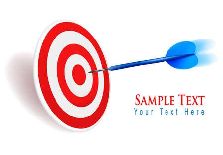 dart on target: Dart hitting a target. Success concept. Illustration.