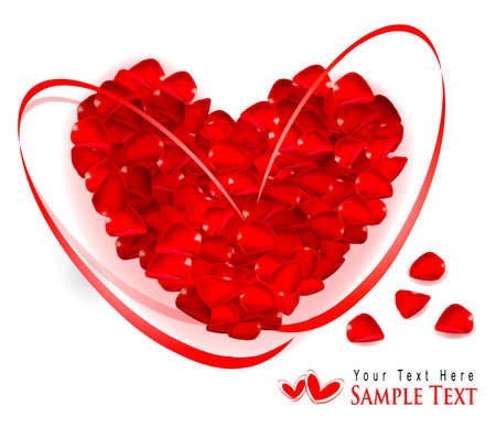 Valentine`s day background. Red heart made of rose petals with gift red ribbons. Vector illustration