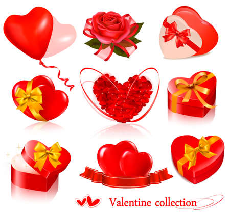 roses and hearts: Set of Valentine day elements. Vector illustration. Illustration
