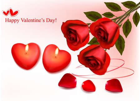 Valentine`s day background. Red roses and two heart candles. Vector.  Vector