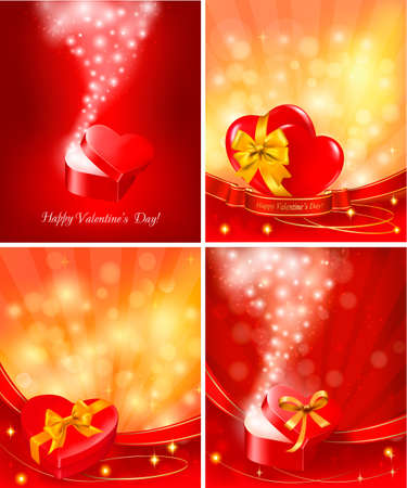 Set of Valentine`s day backgrounds with open gift boxes and hearts. Vector. Stock Vector - 12345842