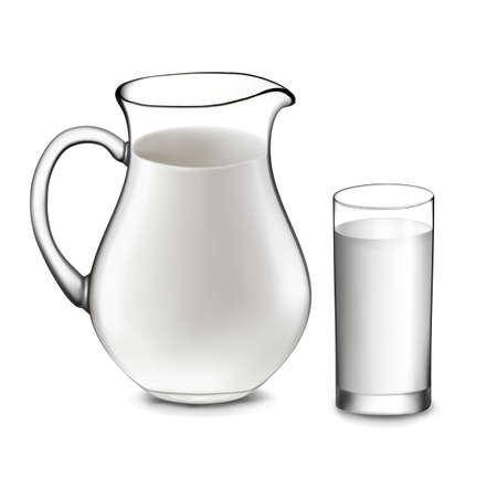 leche y derivados: Leche jarra y vaso de leche. Vector