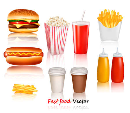 fries: Big group of fast food products. Vector illustration
