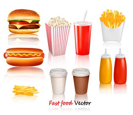 perro caliente: Gran grupo de productos de comida r�pida. Ilustraci�n vectorial
