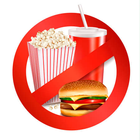 eating fast food: La comida r�pida etiqueta de peligro. Ilustraci�n del vector.