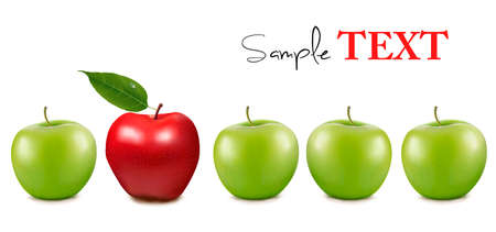 red apples: Unique and different concept design with copy space. Vector illustration.