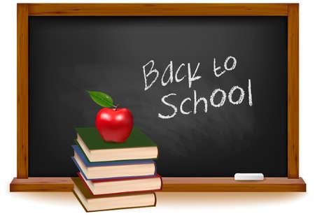 slate: School books with apple on desk. School board background. Vector.