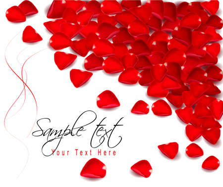 Background of red rose petals.  Vector illustration. Vector