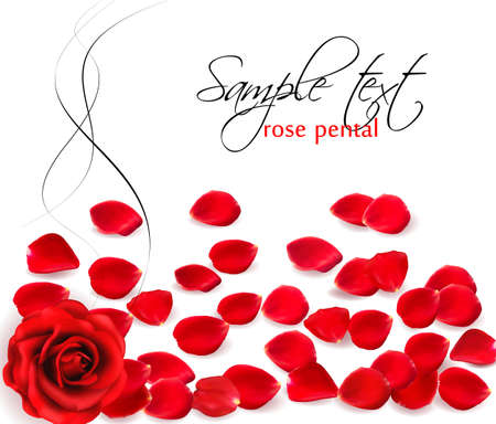 Background of red rose petals.  Vector illustration. Ilustrace