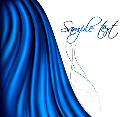 satiny: Brightly lit blue curtain background. Vector illustration.