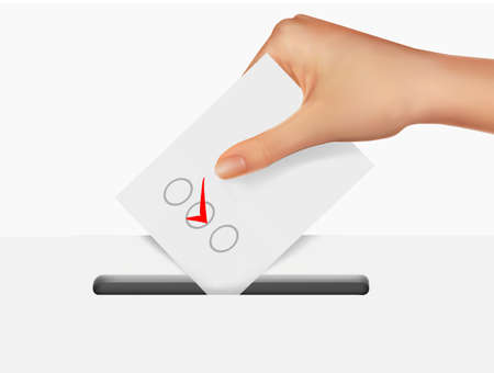 right choice: Hand putting a voting ballot in a slot of box. Illustration