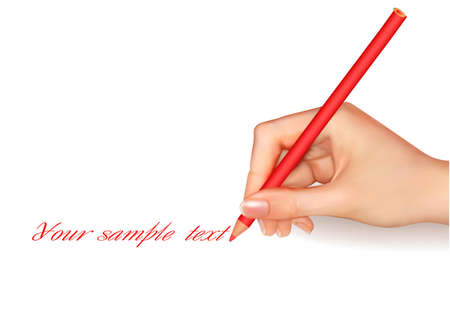 electing: Hand with pen writing on paper. Vector illustration. Illustration