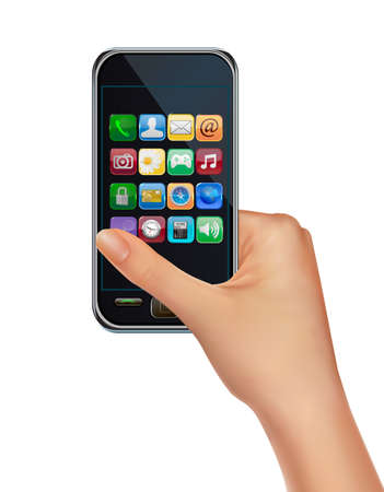 A hand holding touchscreen mobile phone with icons. Vector. Stock Vector - 12345878
