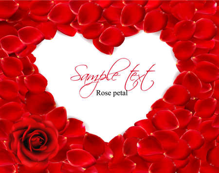 Beautiful heart of red rose petals. Vector Vector