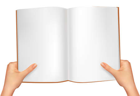 Hands holding open book. Vector illustration Vector