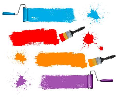 beroerte: Penseel en verf roller en verf banners. Vector illustratie. Stock Illustratie