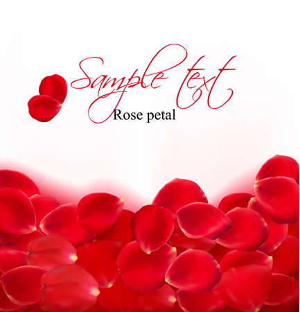 wedding card design: Background of red rose petals. Vector