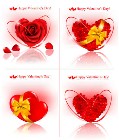 Set of Valentine`s day banners. Red hearts made of rose petals with gift red ribbons. Vector illustration Vector