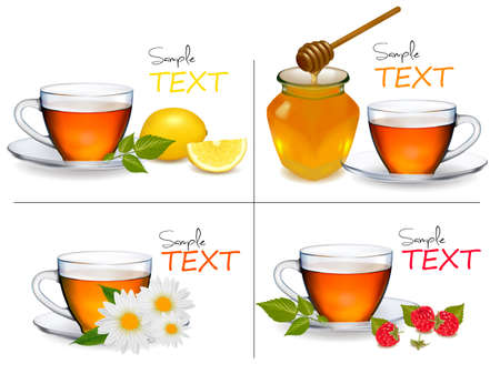 Set of backgrounds with Cups of tea. Vector illustration.