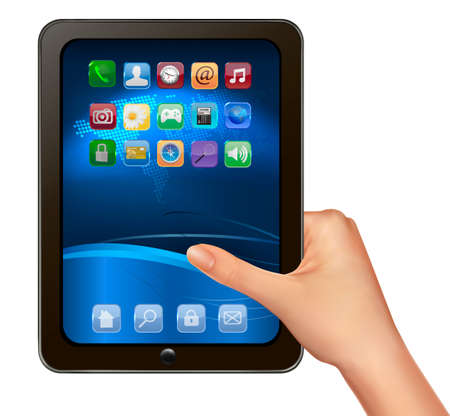 touchpad: A hand holding digital tablet computer with icons. Vector illustration Illustration