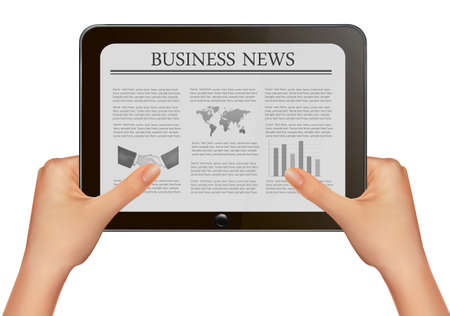 Hands holding digital tablet pc with business news. Vector illustration Stock Vector - 12345876