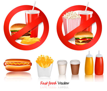 banned: Two Fast food danger labels and group of fast food products.. Vector illustration.