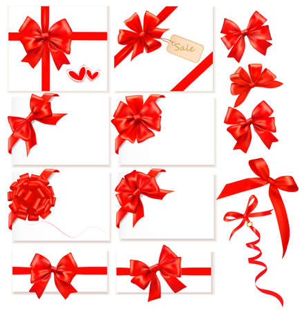 Collection of red bows with ribbons. Vector. Vector