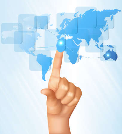 Finger touching world map on a touch screen. Vector. Illustration