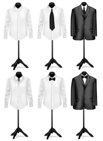 sleeves: Black suit and white shirt with necktie on mannequins. Vector illustration.