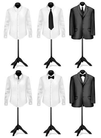 business shirts: Traje negro y camisa blanca con corbata en maniqu�es. Ilustraci�n del vector. Vectores