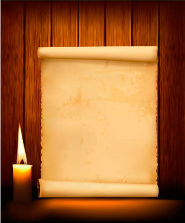 paper sheets: Background with old paper and candle. Vector illustration