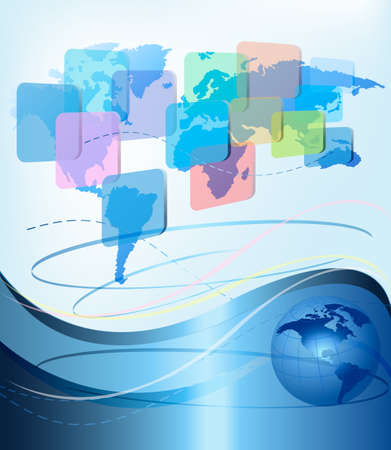 Business abstract background with world map. Vector illustration. Vector